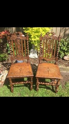 Pair Of Antique Victorian Carved Oak Hall Chairs