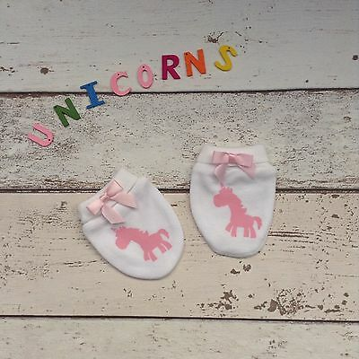 Cute Pink Princess Unicorn Scratch Mitts With A Pink Bow,