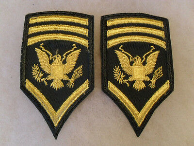 Rare Short Lived 60's Obsolete Wac Spec 8 Pair Chevrons Embroidered On Twill