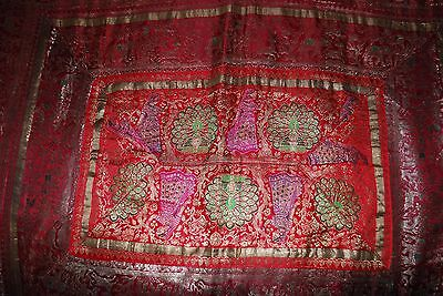 Beautiful Antique Embroidered Bed-cover/Wall Hanging Tata Textiles Bombay Mill