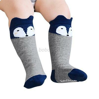 Baby Kids Fox Anti-slip Knee High Socks Tights Toddlers Hosiery Stockings Gray S