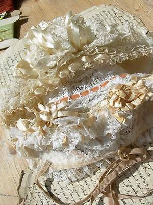 2 antique French silk ribbon rosette baby or doll lace bonnets