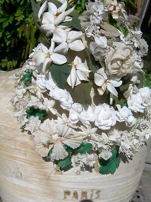 Collection 5 antique French wedding & bridesmaid tiaras crowns - fabric flowers