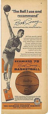 1956 Ad - BOB COUSY BASKETBALL, SEAMLESS RUBBER COMPANY, NEW HAVEN, CT