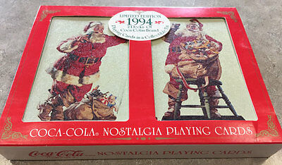 Limited Edition 1994 2 Decks Of Coca-Cola Playing Cards In Collectible Xmas Tin