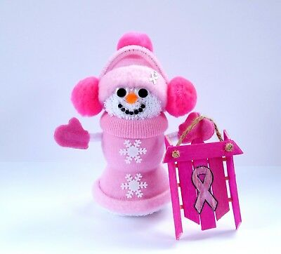 Pink Breast Cancer Awareness Snowman Doll Sled Ornament Handmade New