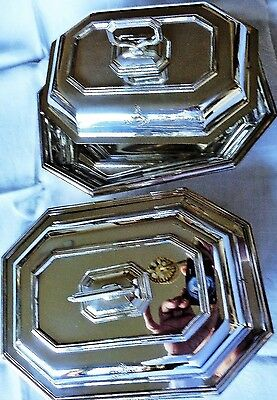 "Antique Armorial Crest Pair Covered Serving Dishes ""honos Et Virtus"" Silver Plat"