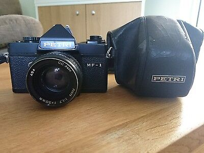 Vintage Petri MF 1 35mm Slimline Camera with Leather Case 50mm lens