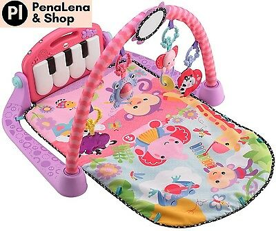 New Fisher Price Kick and Play Piano Baby Mat Activity Musical Toddler Gym, Pink