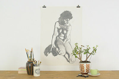 Vintage 1980s Original Signed Female Life Drawing by Robert Arthur Bramwell