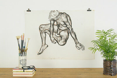 Vintage 1980s Original Male Life Drawing by Robert Arthur Bramwell