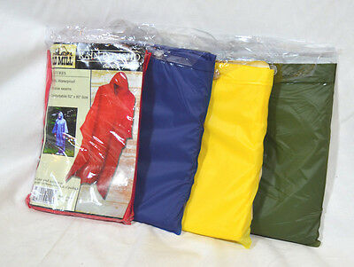 Old Mill .15 mm PVC Rain Poncho, choose Red, Yellow, Moss Green or Blue NEW