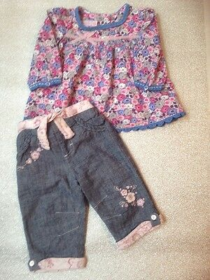 Baby Girls Top From Monsoon & Trousers Age 3-6 Months