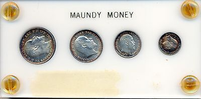 1908 Silver Great Britain Maundy Money 4 Coin Set
