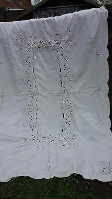 Vintage Madeira Tablecloth Hand Embroidered Large Banquet Cotton 66X98""
