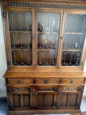 Old Charm Lancaster Carved Oak Leaded Sideboard/,Cupboard Glass Display Cabinet.