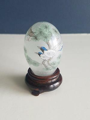 Reverse Painted Two Birds Chinese Or Japanese Snuff Bottle With Wood Stand