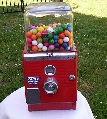 Antique 1949 Northwestern 5 Cent Peanut Gumball Candy Machine Coin Op