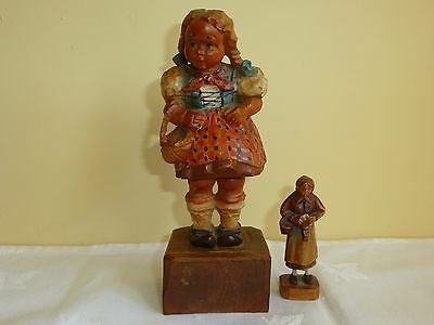 "2 Vintage Black Forest Carved Wood Figures Little Swiss Girl 5.5"" Old Woman 2.5"