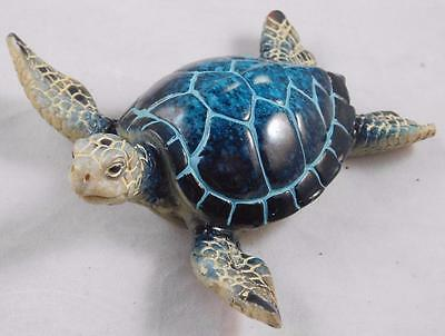 BLUE SEA TURTLE FIGURINE  Amazing Detail - Made of Polystone WW-241