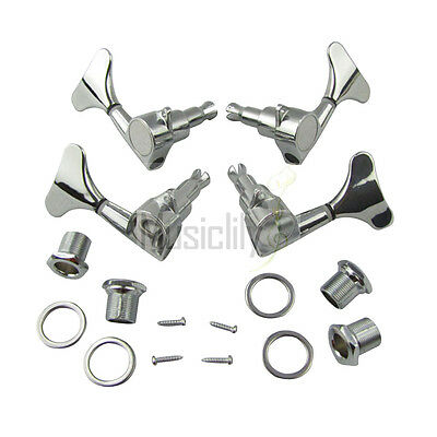 Musiclily 2R2L Bass Sealed String Tuners Tuning Pegs Machine Heads Set Chrome