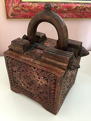 19Th Century Antique Hand-Carved Wood India Pakistan Spice Box