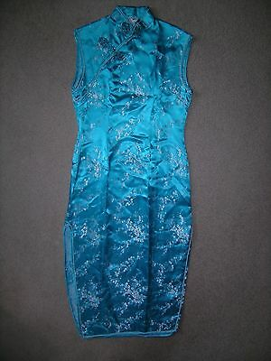 Traditional Authentic silky turquoise white sleeveless Chinese Asian Dress sz M