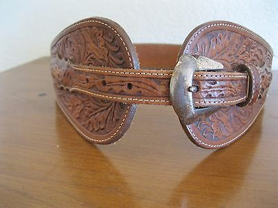 "Justin Womens Leather Belt Western Cowgirl Wide tooled Brown Small 26.5"" -29.5"""