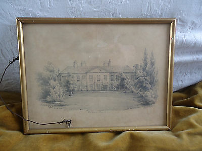 1844 Framed pencil drawing of Old Palace, Richmond