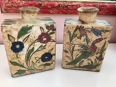 Antique Chinese Two Large Snuff Glazed Pottery Bottles One Birds One Flowers