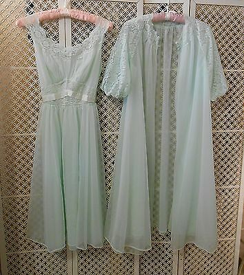 Vintage Vanity Fair Chiffon Nightgown Robe Peignoir Set Mint Green Size 32 Small