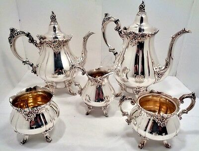Wallace Baroque Ornate Silverplate 5 Pc Tea Coffee Set