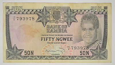 1973 ND BANK OF ZAMBIA 50 NGWEE BANKNOTE P. 14a