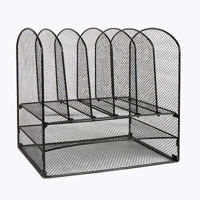 Black Metal Mesh Home Office Desktop Office storage File Rack Organizer Sorter