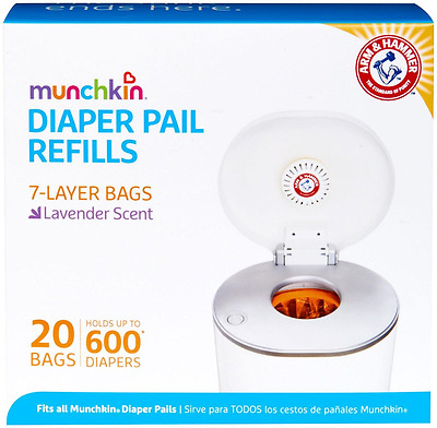 Munchkin Arm & Hammer Diaper Pail,  Refill Bags, 20 Bags, Holds 600 Diapers