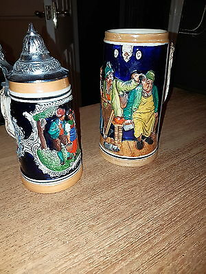 Pair Of Vintage German & Swiss Made Steins/ Very Decorative Pieces #3