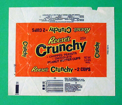 1970's Resse's CRUNCHY Peanut Butter Cups 25 Cent CANDY WRAPPER