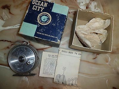 Vintage Ocean City 76 Single Action Fly Reel made in USA w/ Box
