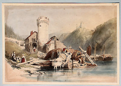 TRIER Nolenauter Moselle MOSEL ORIGINAL Grosse Lithografie STANFIELD 1838