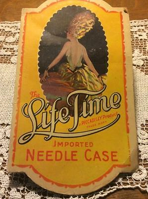 Piccadilly NEEDLE CASE Risque Lady ~ Vintage Sewing Imported Germany