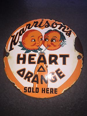 Vintage Harrison's Orange Soda Sign Drink Beverage Steel Porcelain Pump Plate