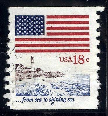1981 US Scott  #1891: Used, VF 18¢ Flag coil  PNC  P# SINGLE #6  Scott: $500.00
