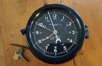Vintage 1940-1944 WWII U.S. Navy Chelsea Ship Deck Clock Boston Military Antique