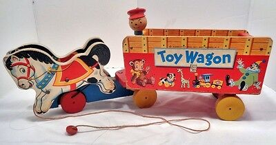 RARE 1951 Fisher Price Toy Wagon #131 Wood Drivers Head Excellent Condition