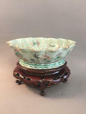 Fine Antique Chinese Qing Famille Rose Celadon Lotus Bowl Grasshopper Nr