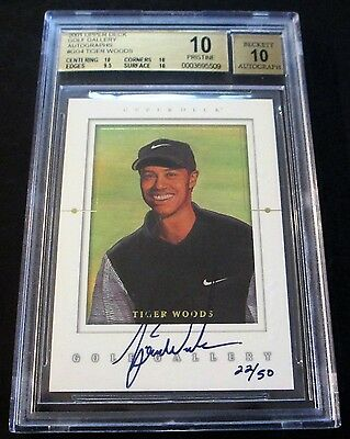 SN 22/50 (POP 3) 2001 UD Golf Gallery Tiger Woods Rookie Autographs #GGTW BGS 10