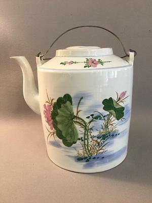 Big Antique Chinese Porcelain Teapot Lotus Flowers Beautiful Nr