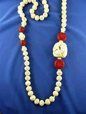 Vtg Chinese carved bovine bone cinnabar bead necklace dragon netsuke pendant