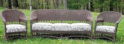 Amazing Antique/vintage Wakefield Quality Wicker Settee, Chair & Rocker 3Pc. Set