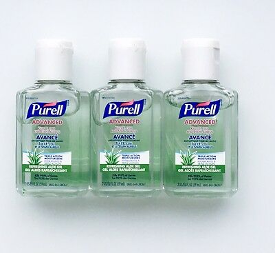 Lot Of 3 Purell Advanced ALOE Hand Sanitizer Gel Triple Action Moisturizers 2oz